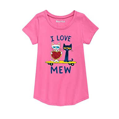 35b3a7f0bfa3b Amazon.com: Pete the Cat Pete I Love Mew - Youth Girl Short Sleeve Curved  Hem Tee: Clothing