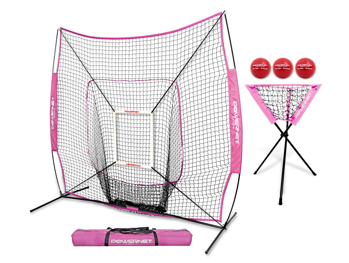 PowerNet DLX Combo 6 Piece Set for Baseball Softball (Pink) | 7x7 Practice Net Bundle w/Strike Zone, Ball Caddy + 3 Weighted Training Balls | Team or Solo Training | Hitting & Throwing