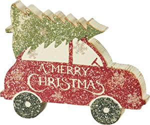 Primitives by Kathy Rustic Car with Tree Chunky Sitter Christmas Sign