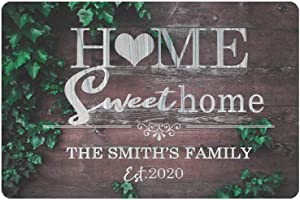 WDSLSING Customizable Personalized Signage Greenery Style Signage The Family Name Silver Black Sign Personalized Name Home Plaque Decor