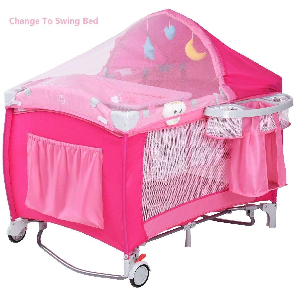 LHONE Portable Foldable Travel Baby Crib Playpen Baby 3 in One Crib Playpen Travel Playpen Changer w/Mosquito Net and Carring Bag (Pink) by LHONE (Image #3)