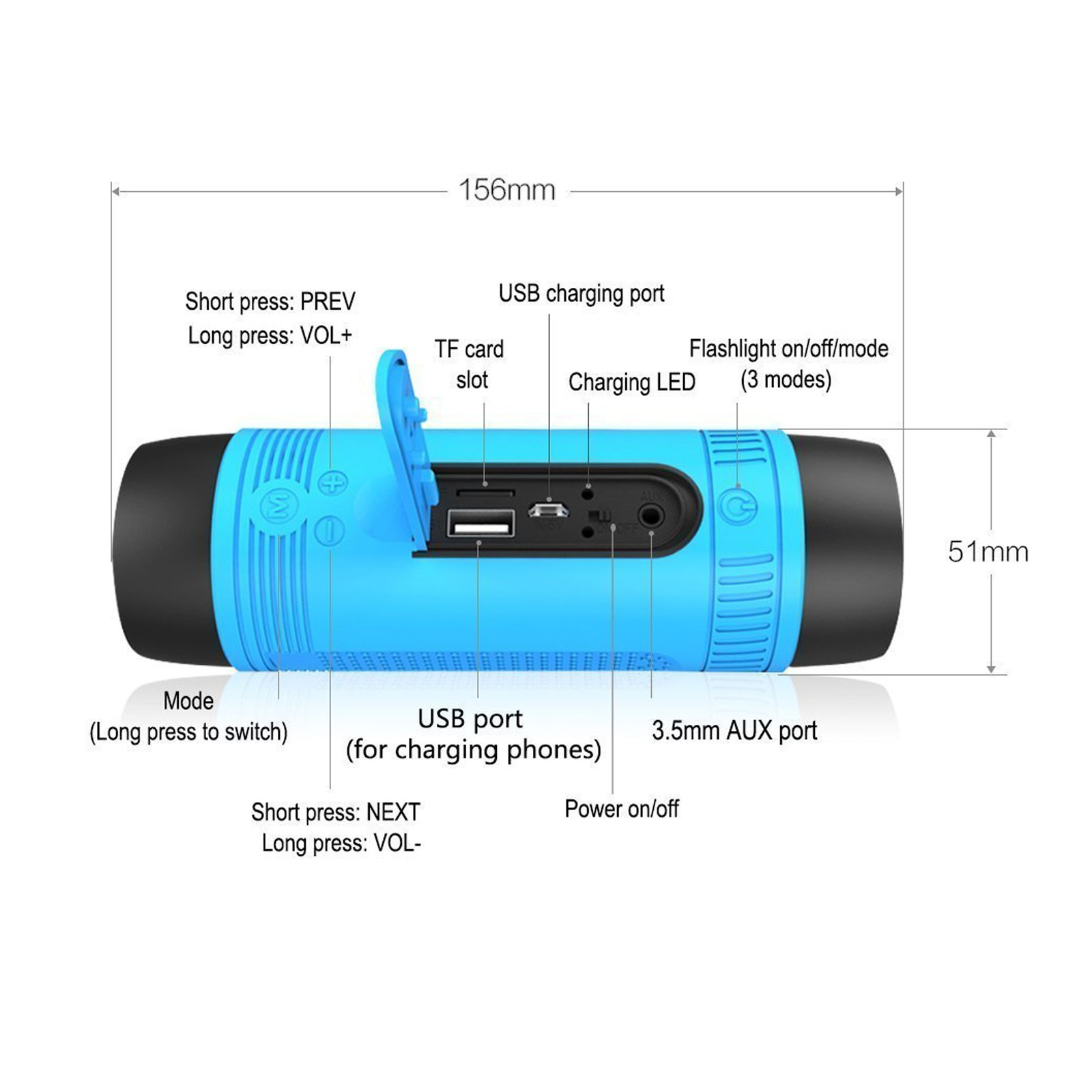 Portable Multifuctional Wireless Bluetooth Speaker 4000mAh Rechargeable Power Bank 3 Mode Emergency Flashlight Handsfree Answering Phone Call TF Card Music Player Mounting Mracket Screw Hole (Blue) by Teastar (Image #9)