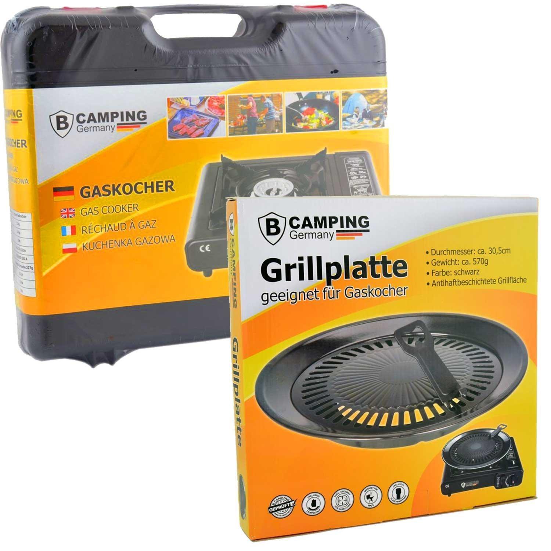 Estufa De Gas Camping Cocina con 8 Gas kar aplicar el rimel Portátil + Accesorio de parrilla Bandeja del grill + Maleta - Negro / Rojo / Gris / Azul: ...