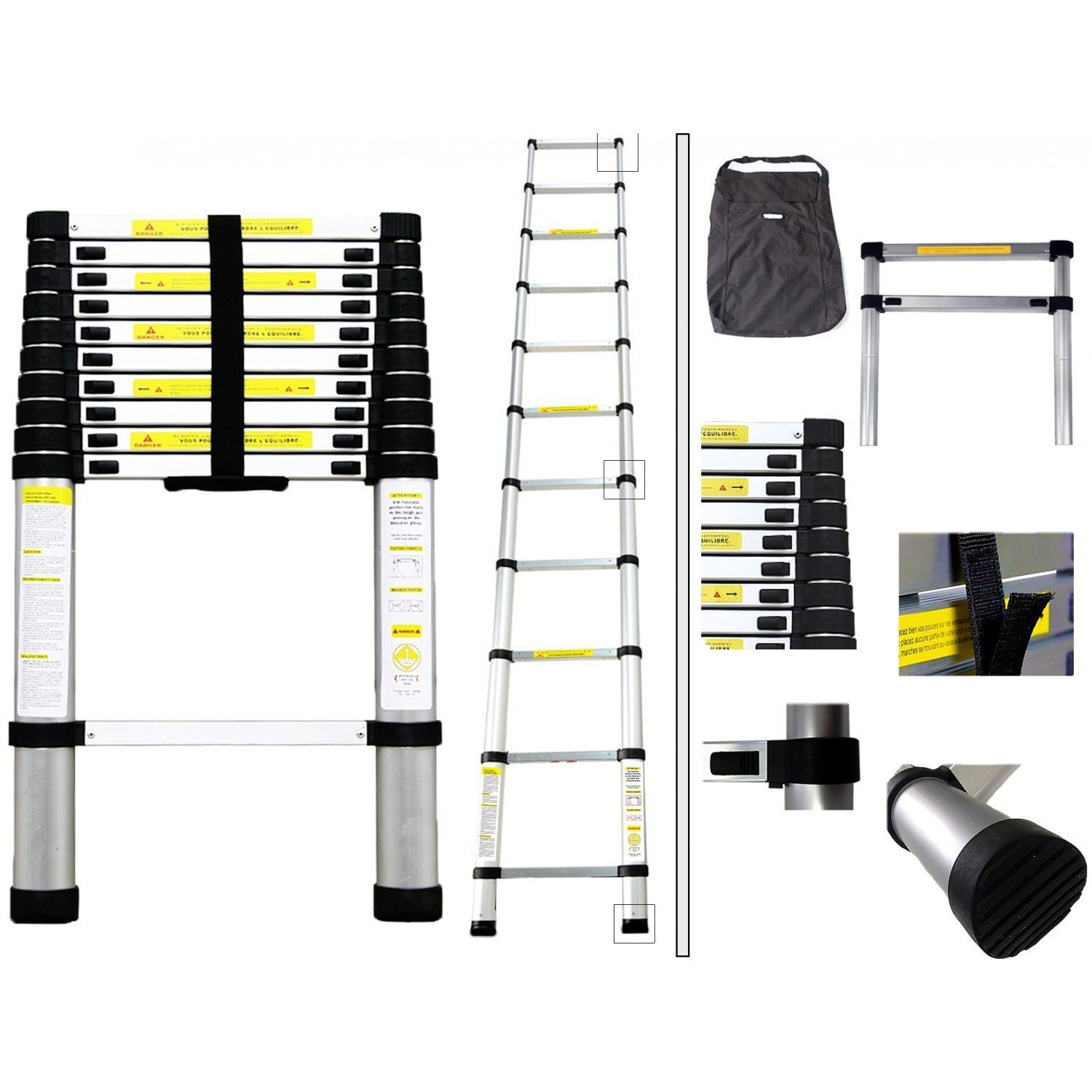 2.9m Telescopic Ladder Alloy Aluminium Extandable Ladder CHINA