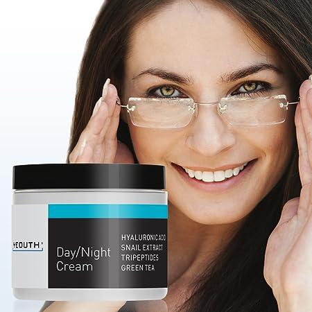 Crema Hidratante Facial de Día YEOUTH con Extracto de Caracol, Acido Hialurónico, Mejor Crema Antiarrugas - 4 oz