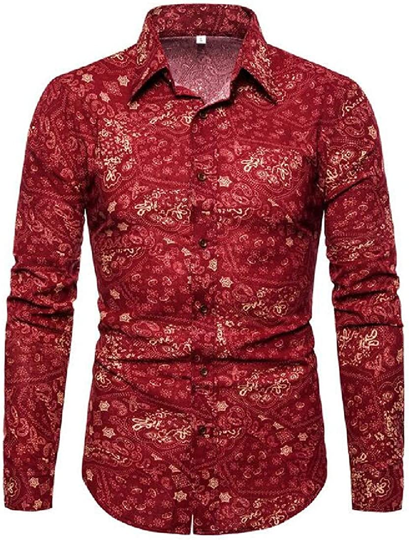 Rrive Mens Slim Lapel Casual Long Sleeve Flower Shirts Button Up Shirts