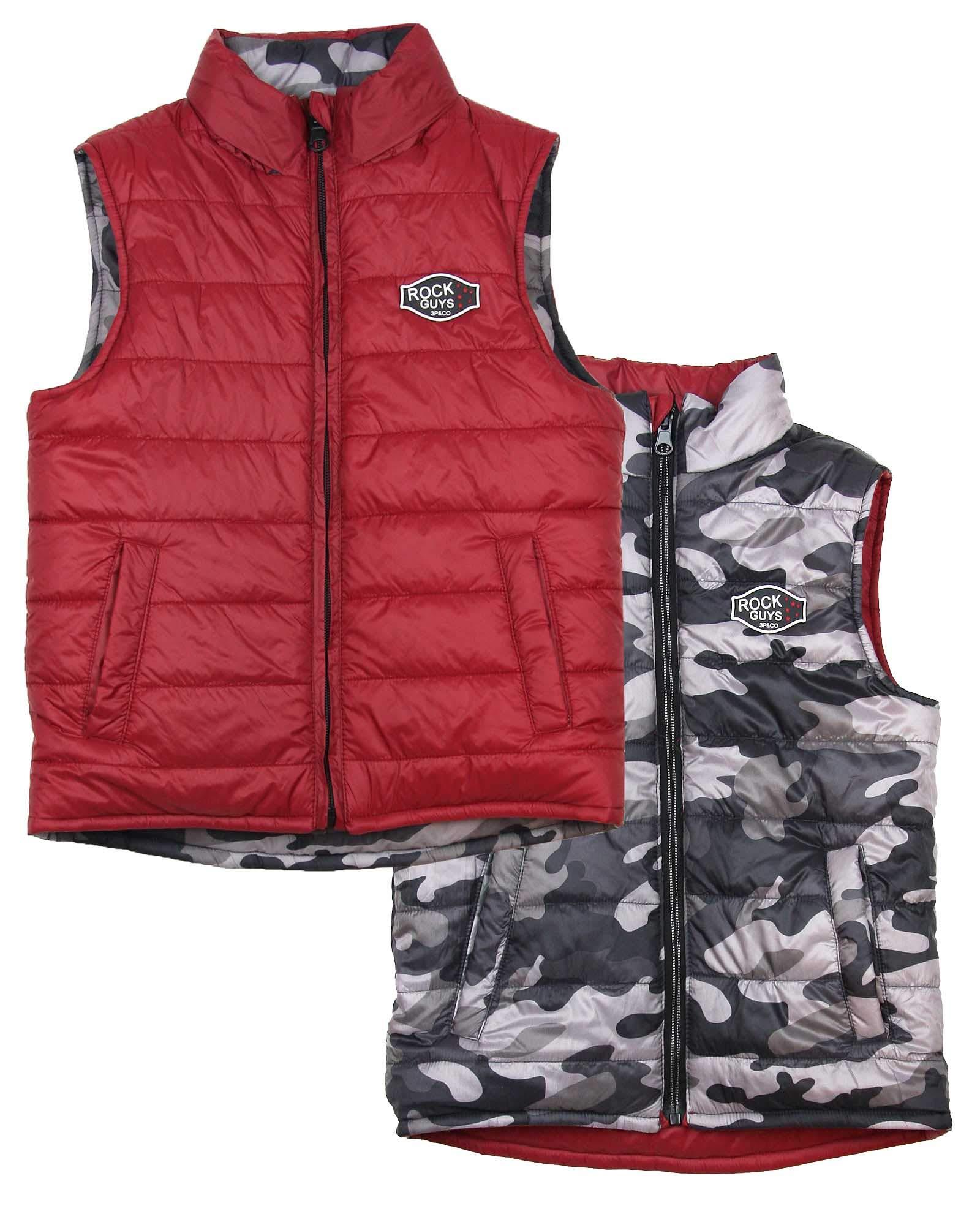 3 Pommes Boy's Reversible Puffer Vest, Sizes 4-12 - 5