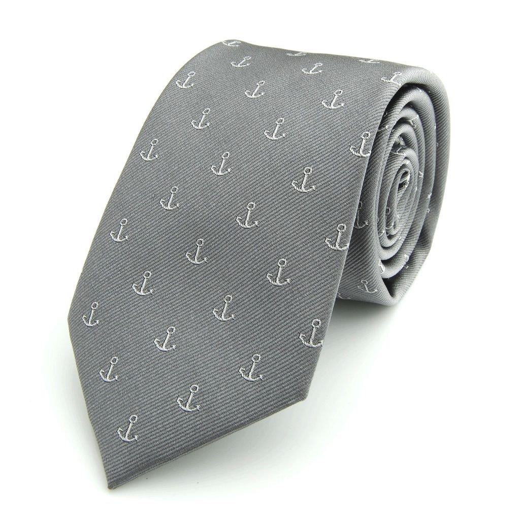 The Smart Man Men's Anchor Silk Necktie - Grey