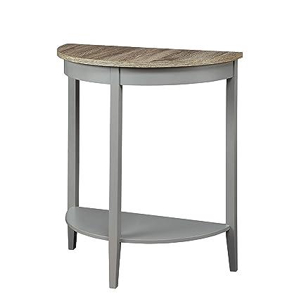 Excellent Amazon Com Grey Oak Finish Semi Circle Demilune Table For Unemploymentrelief Wooden Chair Designs For Living Room Unemploymentrelieforg