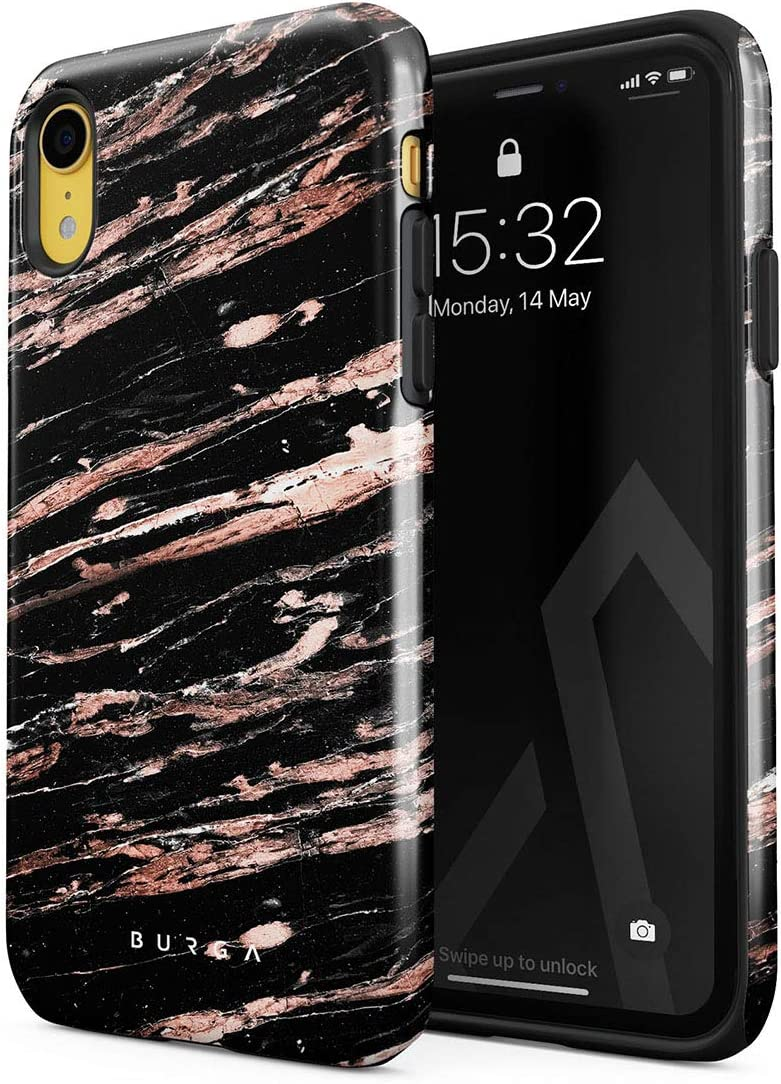 BURGA Phone Case Compatible with iPhone XR - Rich Rose Gold and Black Marble Cute Case for Woman Heavy Duty Shockproof Dual Layer Hard Shell + Silicone Protective Cover