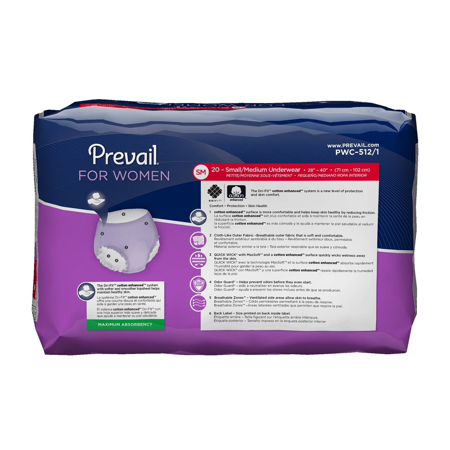Amazon.com: Prevail Maximum Absorbency Incontinence Underwear for Women, Small/Medium, 80 Total Count: Health & Personal Care