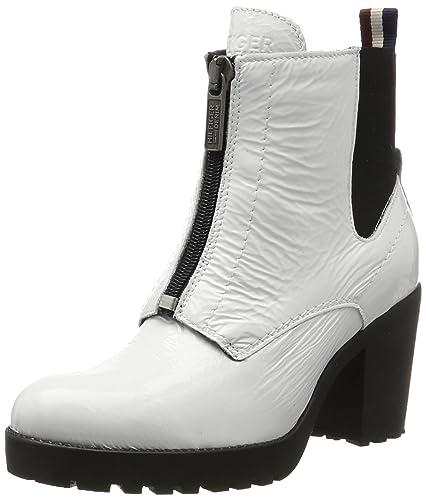Hilfiger Denim B1385oo 3a, Bottes Chelsea Femme, Blanc (White), 39 EU