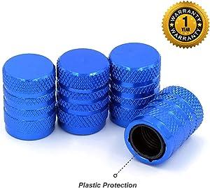 CKAuto Tire Valve Stem Caps, Blue, 4 pcs/Pack, Anodized Aluminum Tire Valve Cap Set, Corrosion Resistant, Universal Stem Covers for Cars Trucks Motorcycles SUVs and Bikes