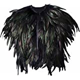 WESTLINK Feather Shoulder Cape Black Steampunk for Halloween Costume Cosplay