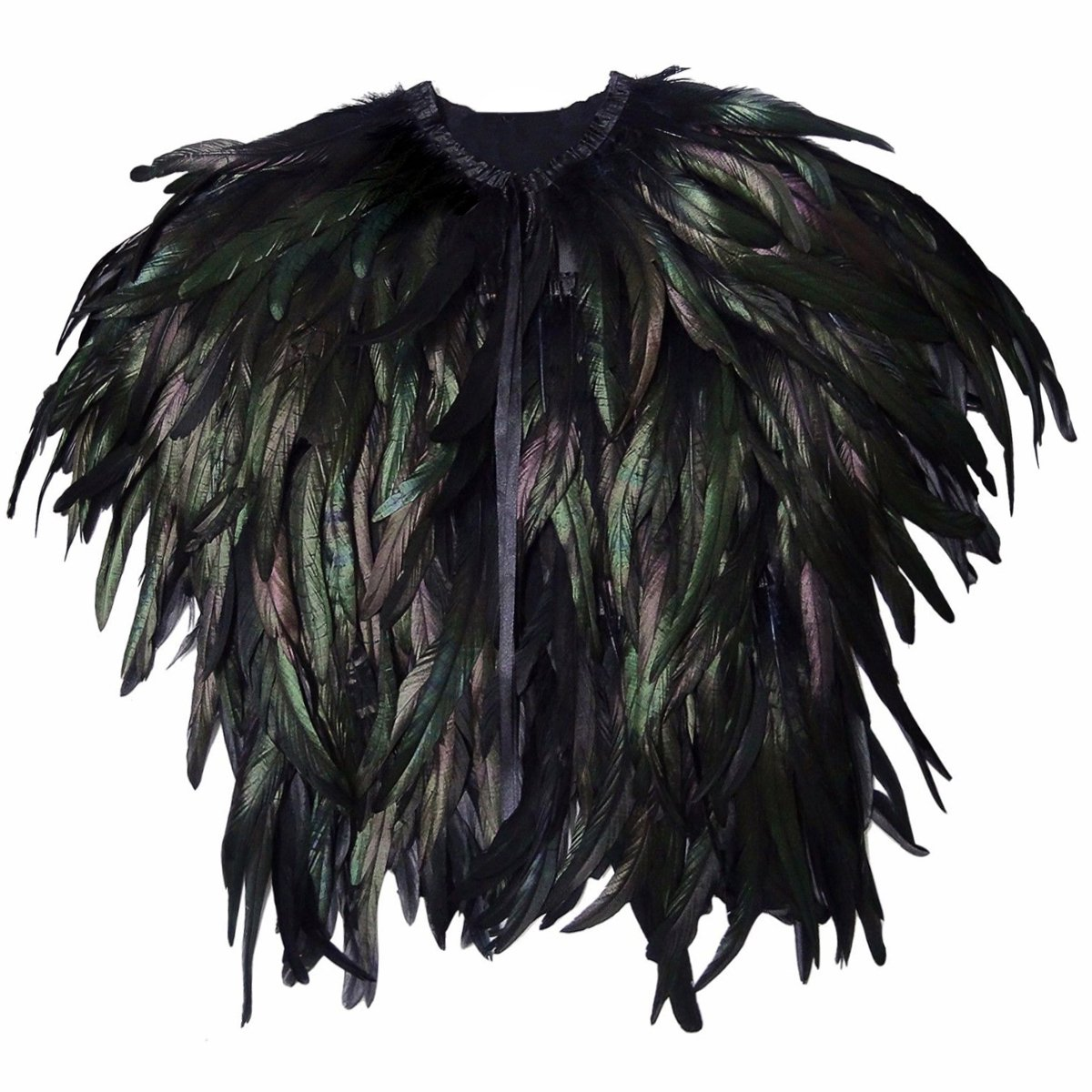 Anjoy Feather Shoulder Cape Black Steampunk for Halloween Costume Cosplay