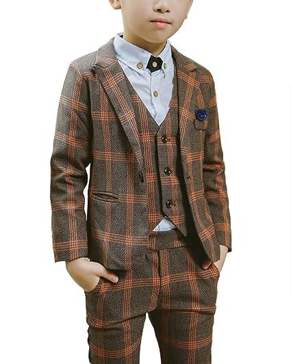 69b705a07 Boys Autumn Plaid Tuxedo Suits Waistcoat Trousers Suit Jacket 3 Pieces Set:  Amazon.co.uk: Clothing