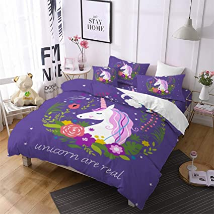 Full Blessliving Unicorn Kids Bedding Duvet Cover Set Cute Magical Unicorn with Rainbow 3 Piece Super Soft Teen Girl Purple Yellow Bedspreads
