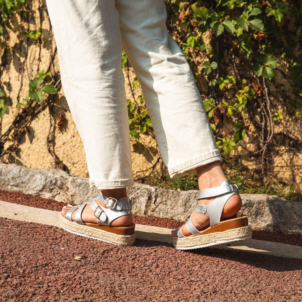 Sandalias Mujer Verano Plataforma Alpargatas Esparto Cu/ña Zapato Hebilla/Punta Abierta Comodas Negro Marr/ón Blanco Leopardo Amarillo Azul Talla 35-43 EU