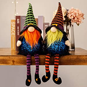 XAMSHOR Handmade Halloween Gnomes with Colorful Timing Light Witch Gnome Plush Tomte Long Leg Scandinavian for Home Table Decorations Gift Set of 2