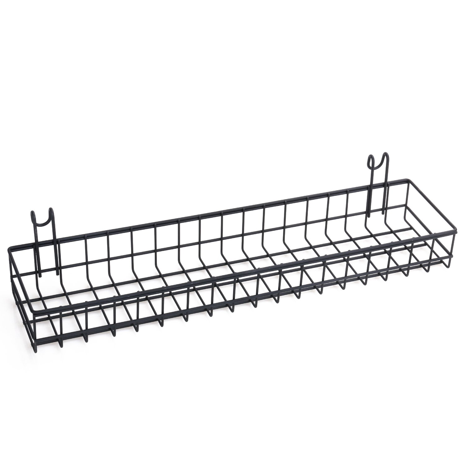 Kufox Multipurpose Mesh Wall Metal Wire Basket, Grid Panel Hanging Tray, Wall Mount Organizer, Wire Storage Shelf Rack For Home Supplies, Wall Decor, Small Size, Black Coated