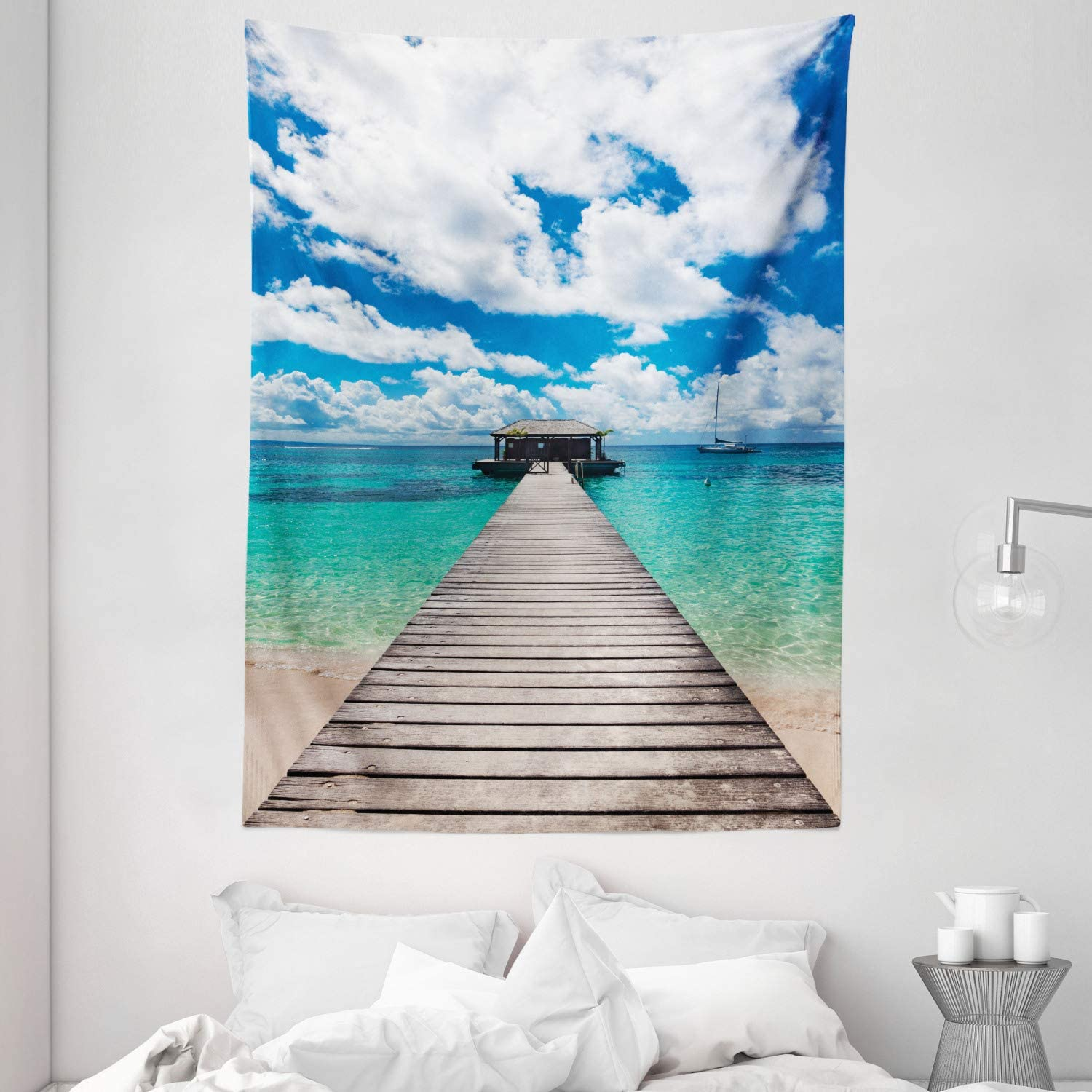 """Ambesonne Ocean Tapestry, Caribbean Seascape with Jetty and Sail Boat Cloudy Sky Clear Exotic Ocean, Wall Hanging for Bedroom Living Room Dorm Decor, 60"""" X 80"""", Turquoise White"""