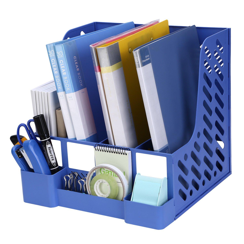 TOROTON File Rack Holder, 4 Compartments Mesh Plastic Home Office Desk Book Sorter Storage Shelf, for Paper Magazine Documents and Books -Blue