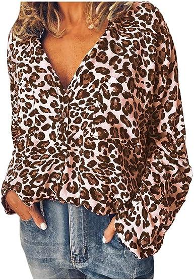 Reooly Mujer Moda Estampado Leopardo Camisetas de Manga Larga Camisas de Manga Blusa: Amazon.es: Ropa y accesorios