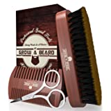 Beard Comb & Brush Kit for Men | Free Trimming Mustache Scissors | Premium Cardboard Gift Box | Best Bamboo Grooming Set to Spread Oil or Balm for Growth, Styling, Shine, Softness | Mahogany Color (Tamaño: Small)