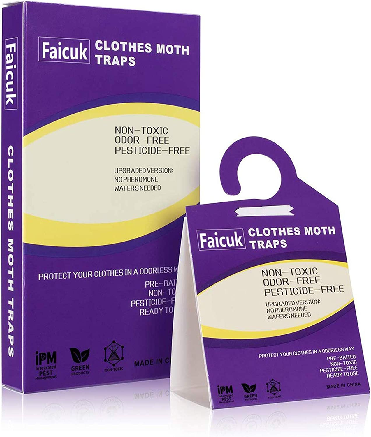Faicuk 12-Pack Clothes Moth Traps with Pheromone Attractant for Closet and Carpet