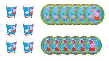 Peppa Pig 1102, Pack Desechables Fiestas y cumpleaños Basic, Compuesto por 6 Vasos, 6 Platos 18 cm y 6 Platos 23 cm
