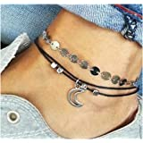 Simsly Anklet Bracelet with Moon Beaded Woven Silver Ankle Chain for Women and Teen Girls JL-0113