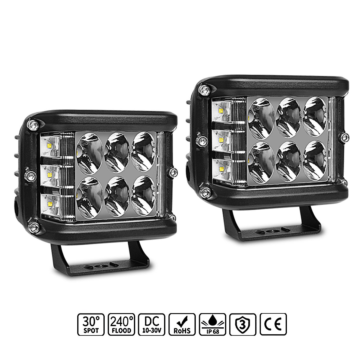 Led Light Pods Rigidhorse 2pcs 4 Inch Bar Details About Spot Flood Work Driving Wiring Button On Off Beam Combo Cube Lights Road For Trucks Atv