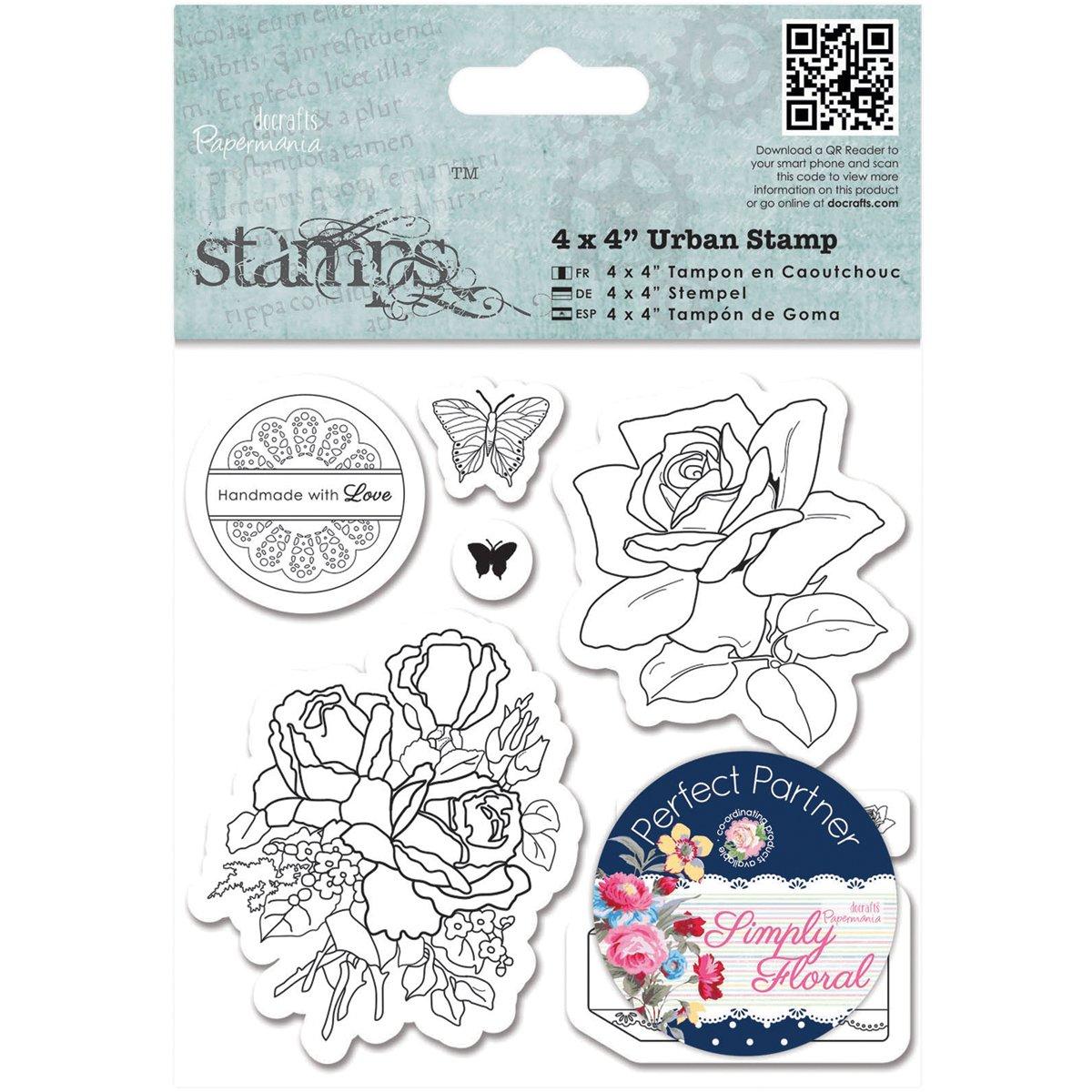 【驚きの値段】 docrafts Papermania by Simply Floral Urban Stamps, Stamps, Birthday 4 x 4, Birthday Rose by DOCrafts B00RVYHW2M, 木古内町:5637aad8 --- mvd.ee
