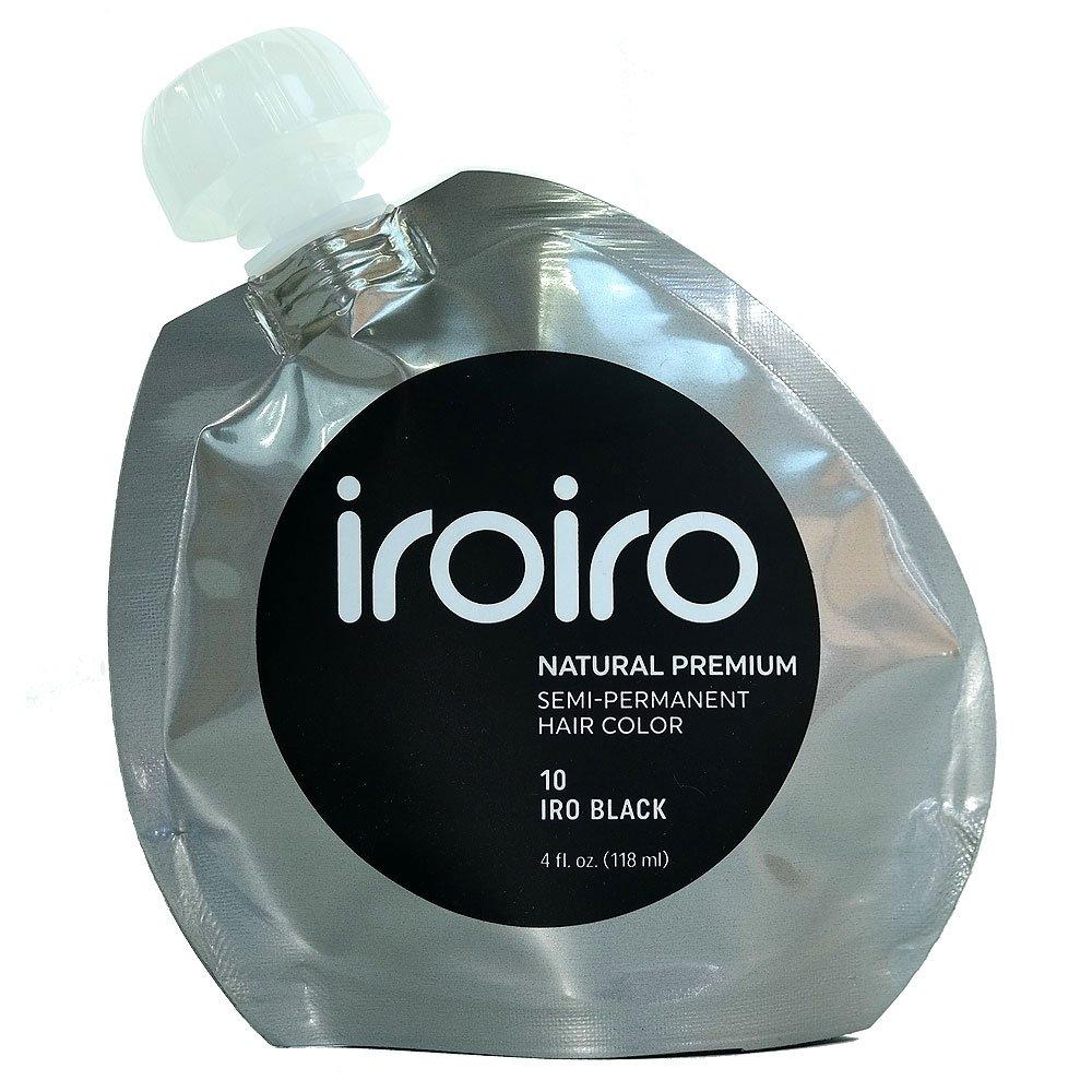 IROIRO Premium Natural Semi-Permanent Hair Color 10 Iro Black (4oz)