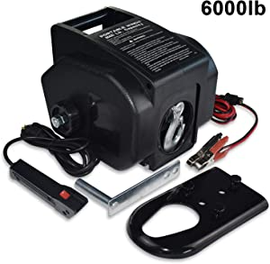 Hantun Trailer Winch, Reversible Electric Winch, for Boats up to 6000 lbs 12V DC