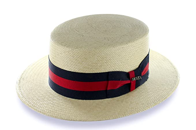 NEW SCALA PANAMA STRAW SKIMMER BOATER TEFLON COATED NATURAL GROSGRAIN USA  HAT (MEDIUM) ce6d765044f8