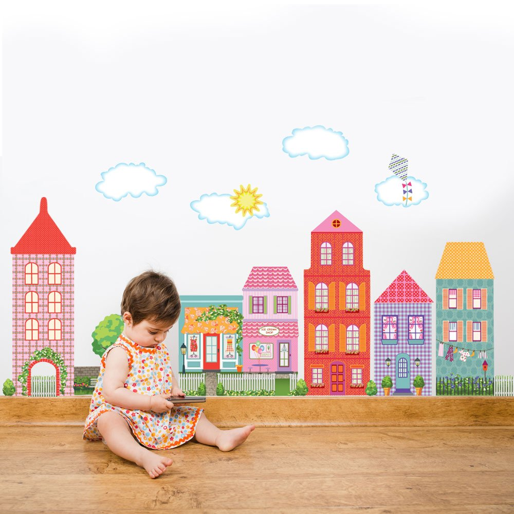 Amazon dollhouse town wall decals removable reusable peel amazon dollhouse town wall decals removable reusable peel and stick home kitchen amipublicfo Images
