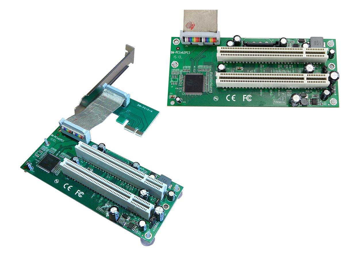 Adaptador PCI-E express (PCIe 1x) a 2x PCI de 32 bits, con cable ...