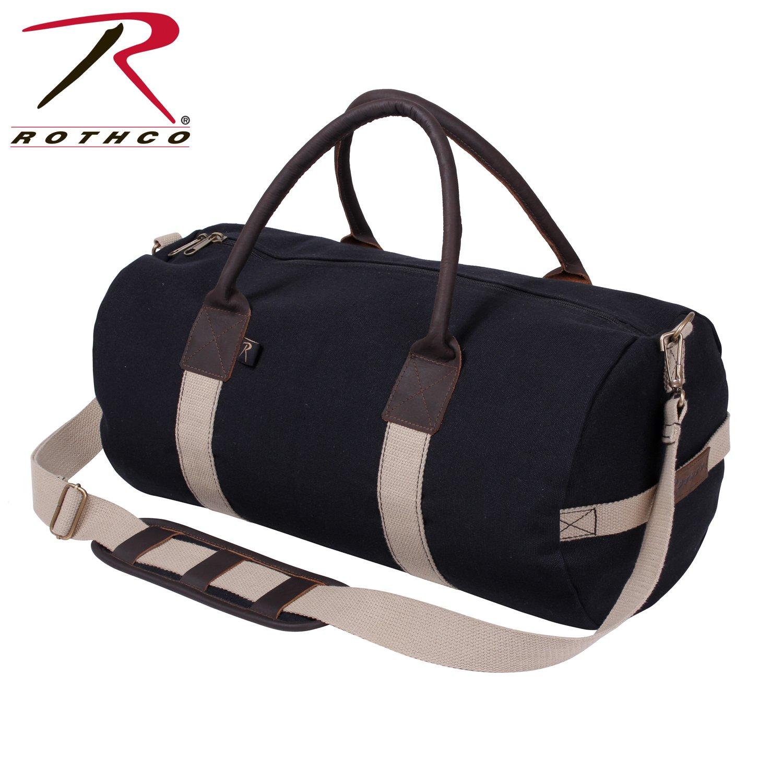 Rothco 19'' Canvas & Leather Gym Bag, Black
