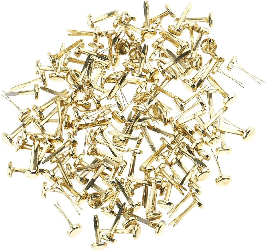 Healifty 100pcs Mini Brads Metal Round Pearl Brad Paper Fastener for Scrapbooking Craft DIY Paper Gold