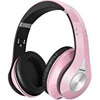 Mpow 059 Bluetooth Headphones Over Ear, Hi-Fi Stereo Wireless Headset, Foldable, Soft Memory-Protein Earmuffs, w/Built-in Mic Wired Mode PC/Cell Phones/TV 1 Pink Only