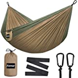 femor Outflitters Double Hammock, Portable Lightweight Nylon Parachute Hammok with Tree Ropes and Carabiners - Support 441lbs for Ourdoor Backpacking, Camping, Hiking, Travel