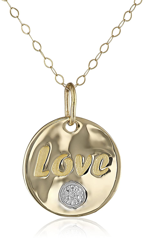 "14k Yellow Gold Diamond-Accent Organic ""LOVE"" Pendant Necklace, 18"""