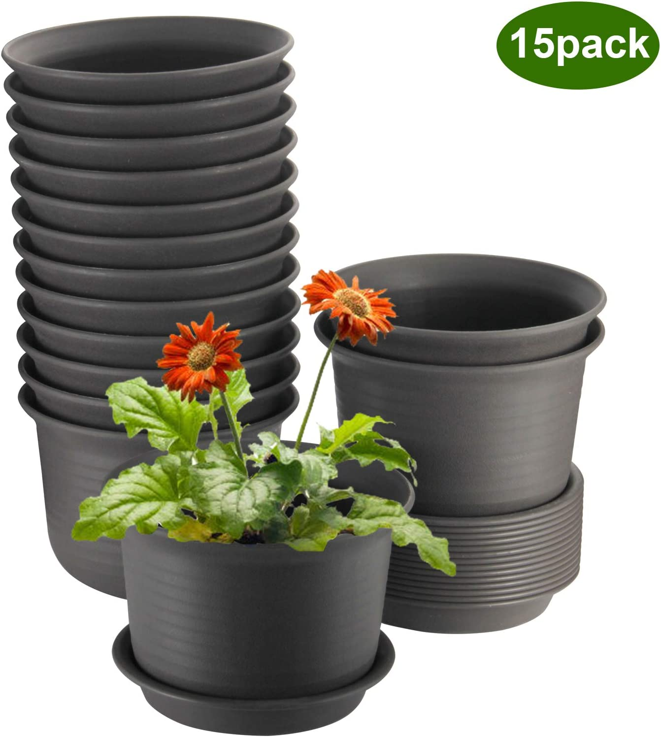 ZOUTOG Flower Pots 6 inch Plastic Planters with Drainage Hole and Tray, Pack of 15 - Plants Not Included, Brown