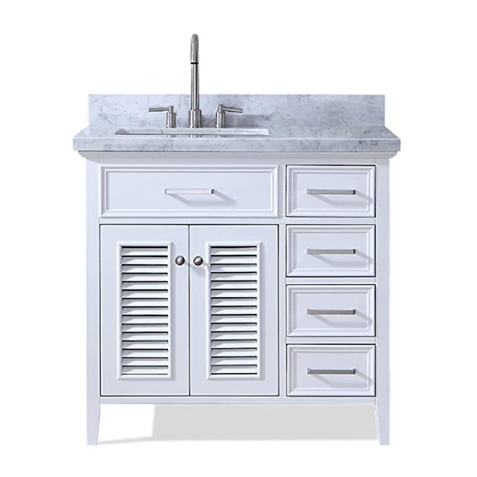 "ARIEL Kensington D037S-L-VO-WHT 37"" Inch Left Offset Single Rectangular Sink White Bathroom Vanity With Carrara Marble Countertop."