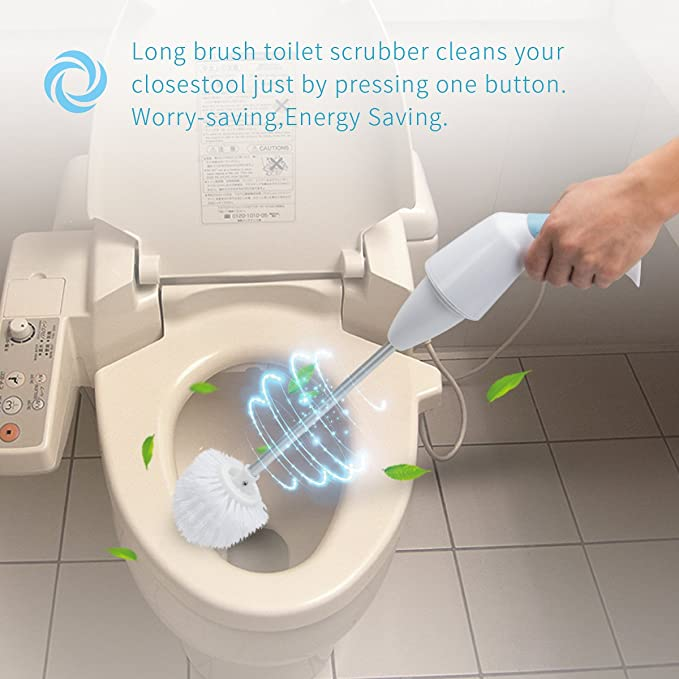 EVERTOP Cepillo de limpieza de inodoro eléctrico e inalámbrico, cepillo de retroceso con mango largo para baño IPX7: Amazon.es: Hogar