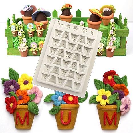 Vivin alfabeto cubo diseño de flores moldes molde de repostería de silicona alfombrilla para tarta Fondant