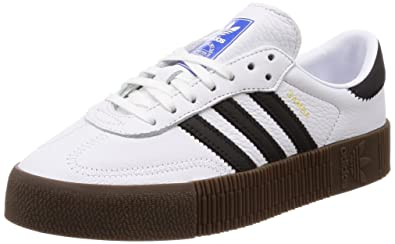 ed0baba4ea3 Image Unavailable. Image not available for. Color  adidas Womens Sambarose  Leather White Black Gum Trainers ...