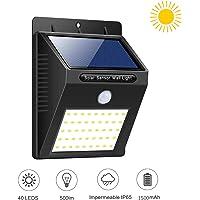 XINYUKEJIk - Luces solares para exteriores, 3 modos, 40 luces LED, 1800 mAh, luz solar, impermeable, sensor de…
