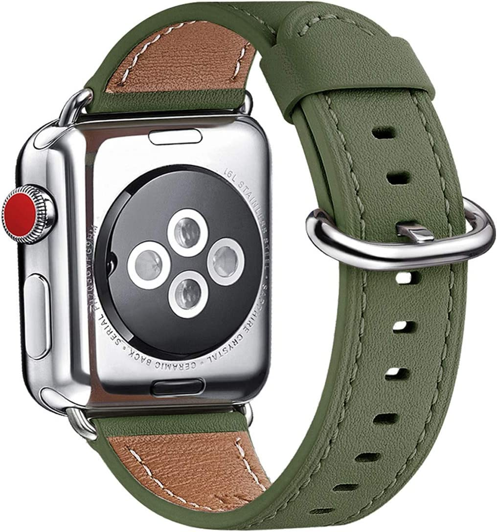 WFEAGL Compatible With iWatch Band 38mm 40mm 42mm 44mm, Top Grain Leather Band Replacement Strap for iWatch SE & Series 6,Series 5,Series 4,Series 3,Series 2,Series 1,Edition (Olive-Green Band+Silver Adapter)